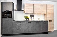 Rechte keuken grijs / hout R32
